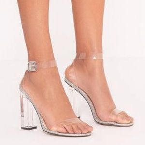 Silver Clear Heels *NEVER WORN*